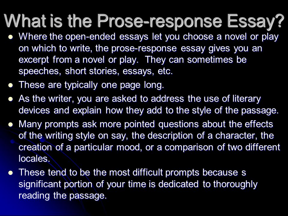 essay is prose As nouns the difference between prose and essay is that prose is language, particularly written is that prose is to write or repeat in a dull, tedious, or prosy way while essay is (dated|transitive) to try.