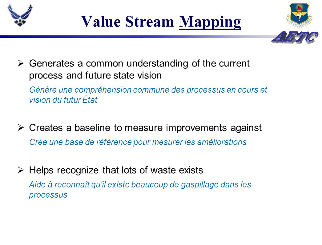 Value Stream Mapping Generates a common understanding of the current process and future state vision.