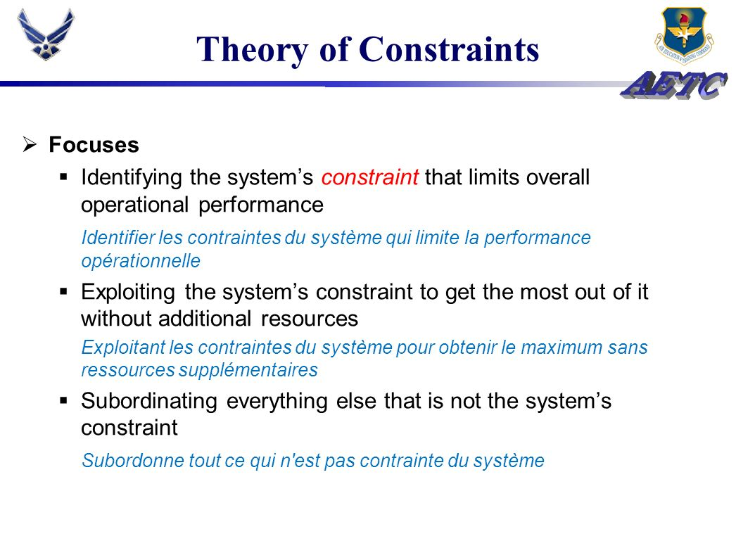 Theory of Constraints Focuses