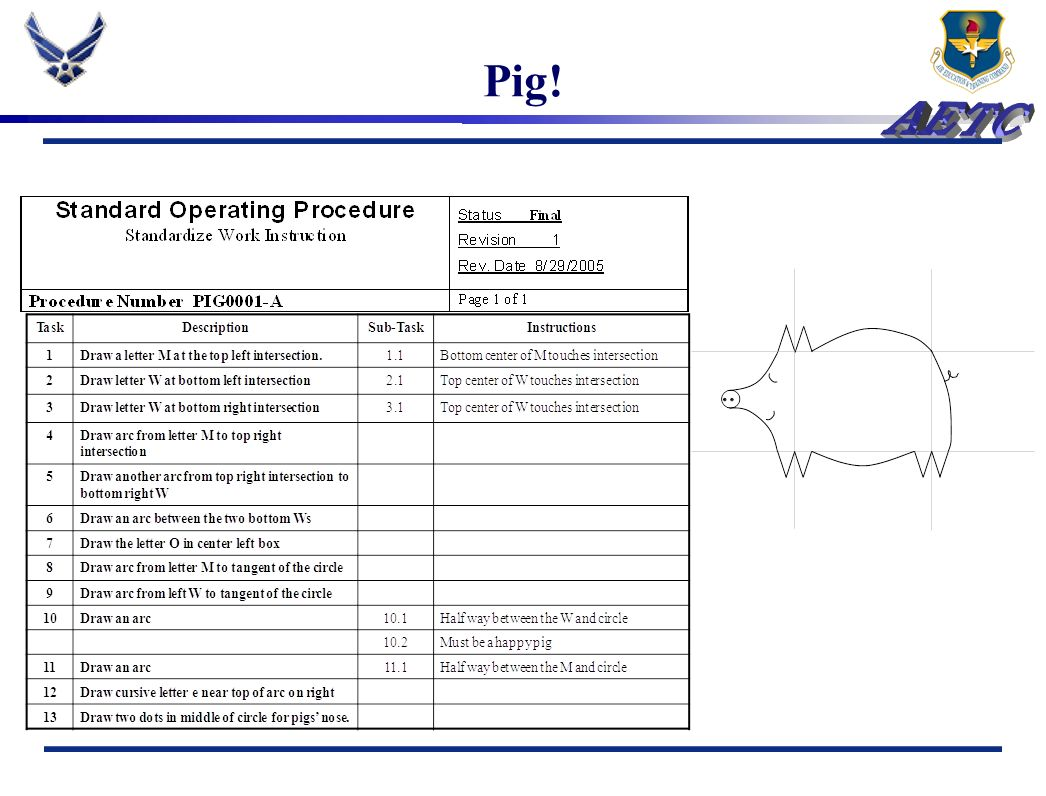 Pig! Now, flip the grid paper over and follow the new SOP on the blank grid.