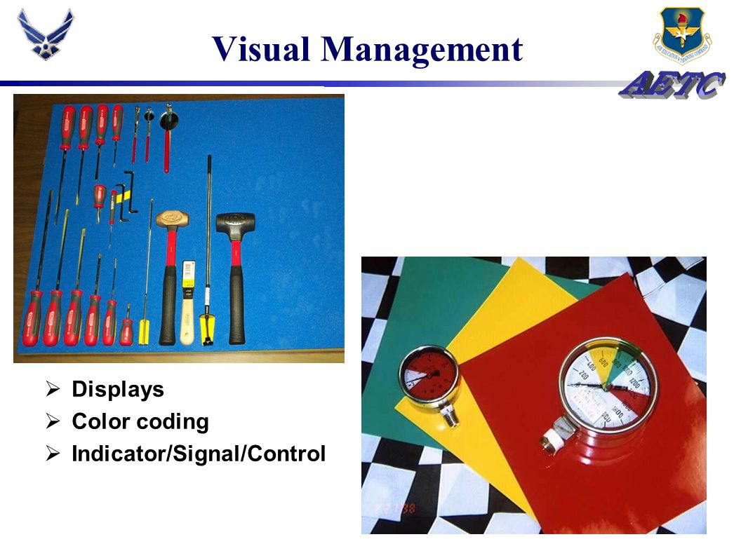 Visual Management Displays Color coding Indicator/Signal/Control