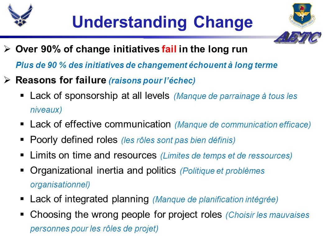 Understanding Change Over 90% of change initiatives fail in the long run. Plus de 90 % des initiatives de changement échouent à long terme.
