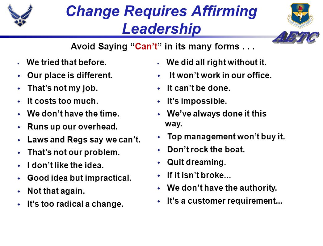 Change Requires Affirming Leadership