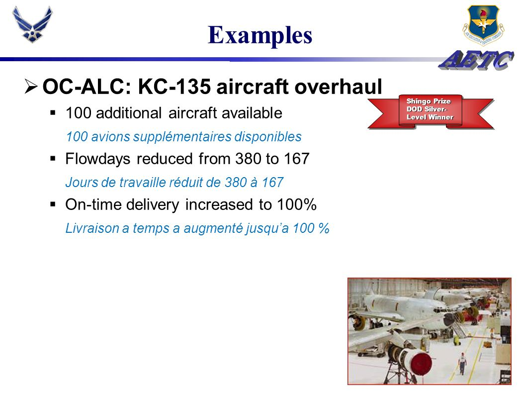 Examples OC-ALC: KC-135 aircraft overhaul
