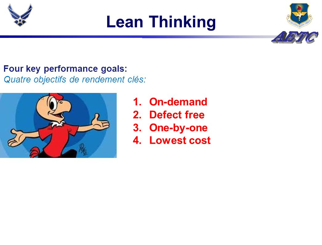 Lean Thinking On-demand Defect free One-by-one Lowest cost