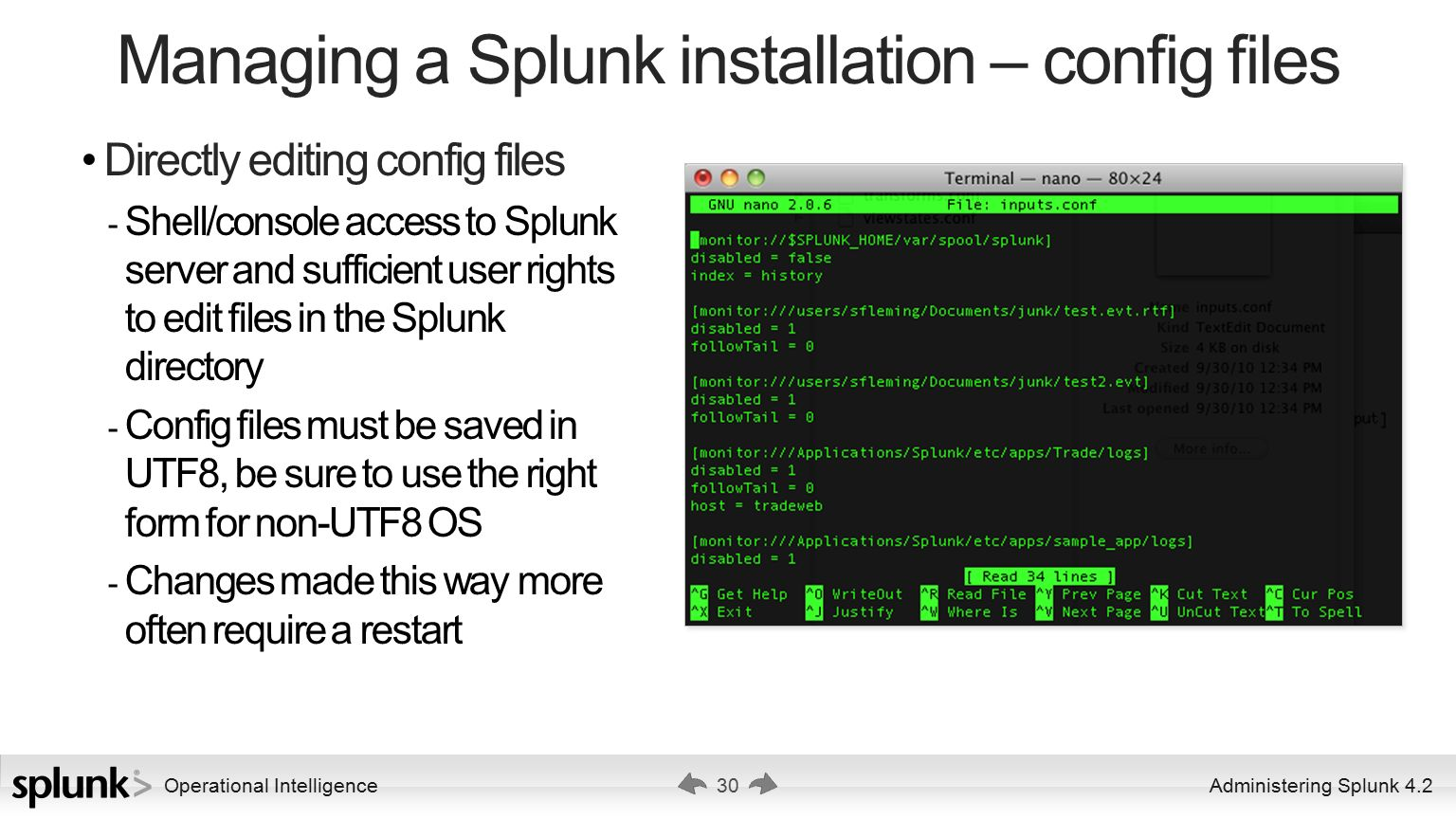 how to find the splunkd config file
