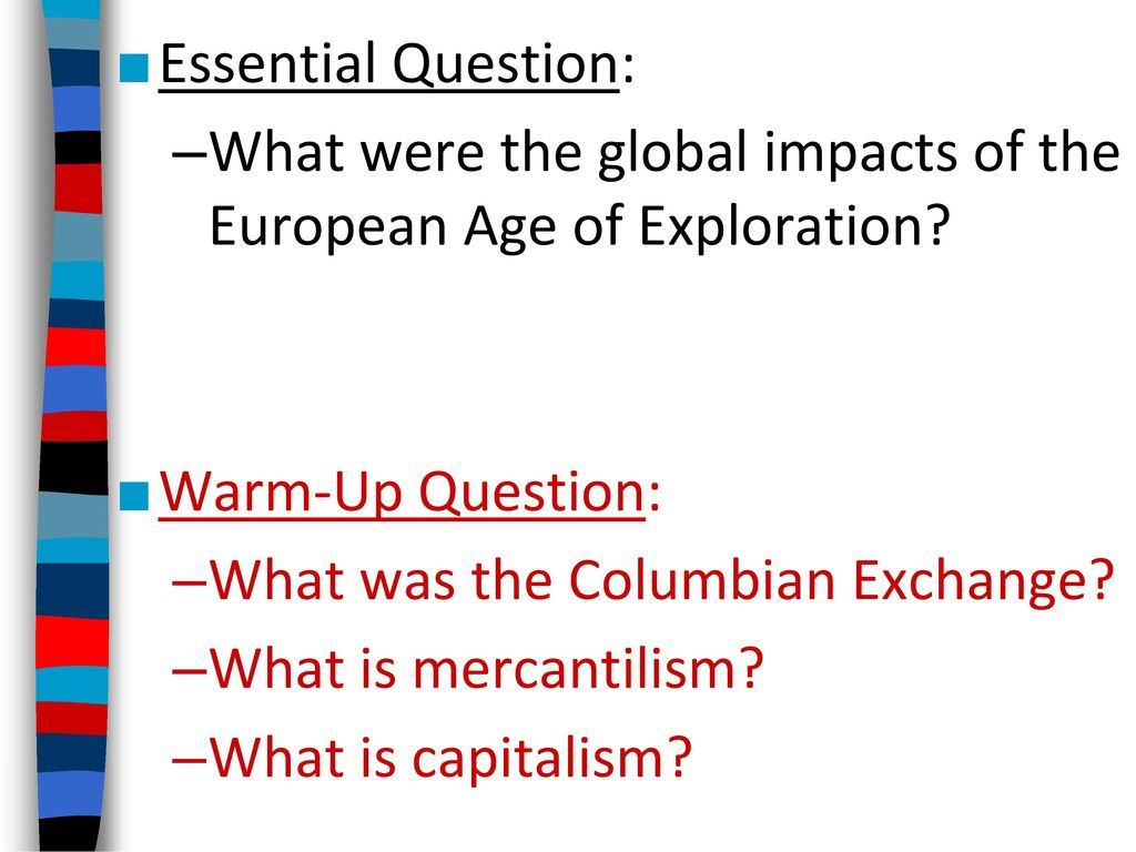 worksheet The Columbian Exchange And Global Trade Worksheet essential question what were the global impacts of european age exploration warm