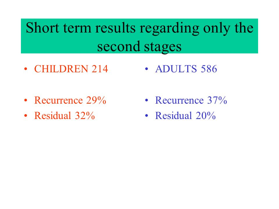 Short term results regarding only the second stages