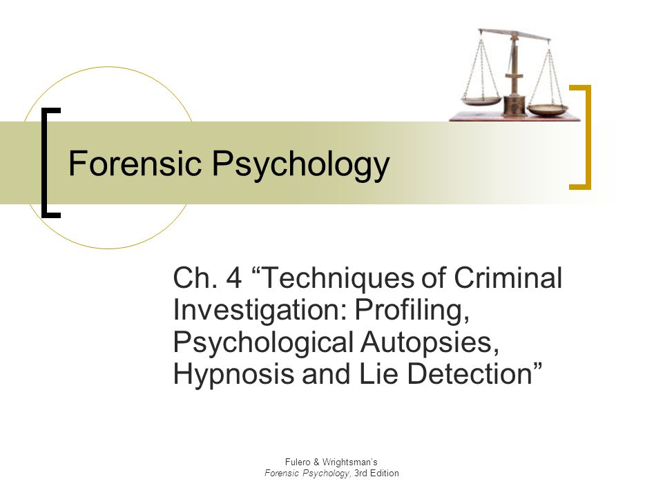 the usefulness of psychological profiling techniques Get an answer for 'what is profiling' and find homework help for other health questions at enotes such techniques encouraged law-enforcement personnel reliant on traditional criminology methods to comprehend and richard w foundations of psychological profiling: terrorism, espionage.