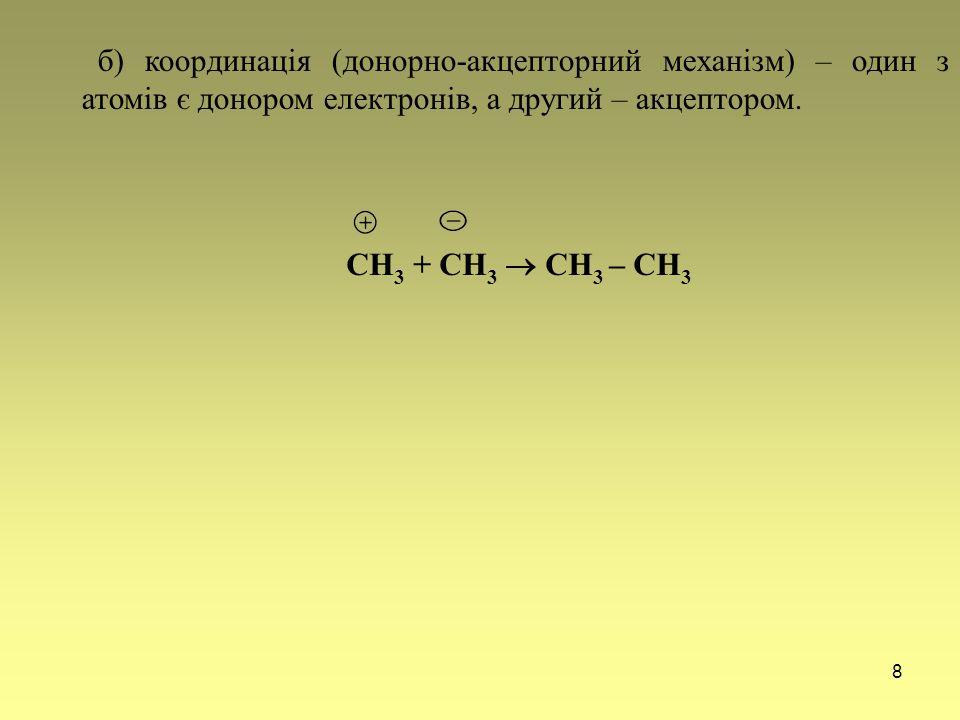б) координація (донорно-акцепторний механізм) – один з атомів є донором електронів, а другий – акцептором.