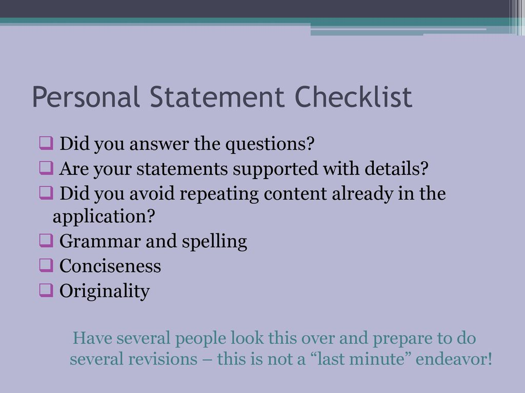 Questions to answer in your personal statement