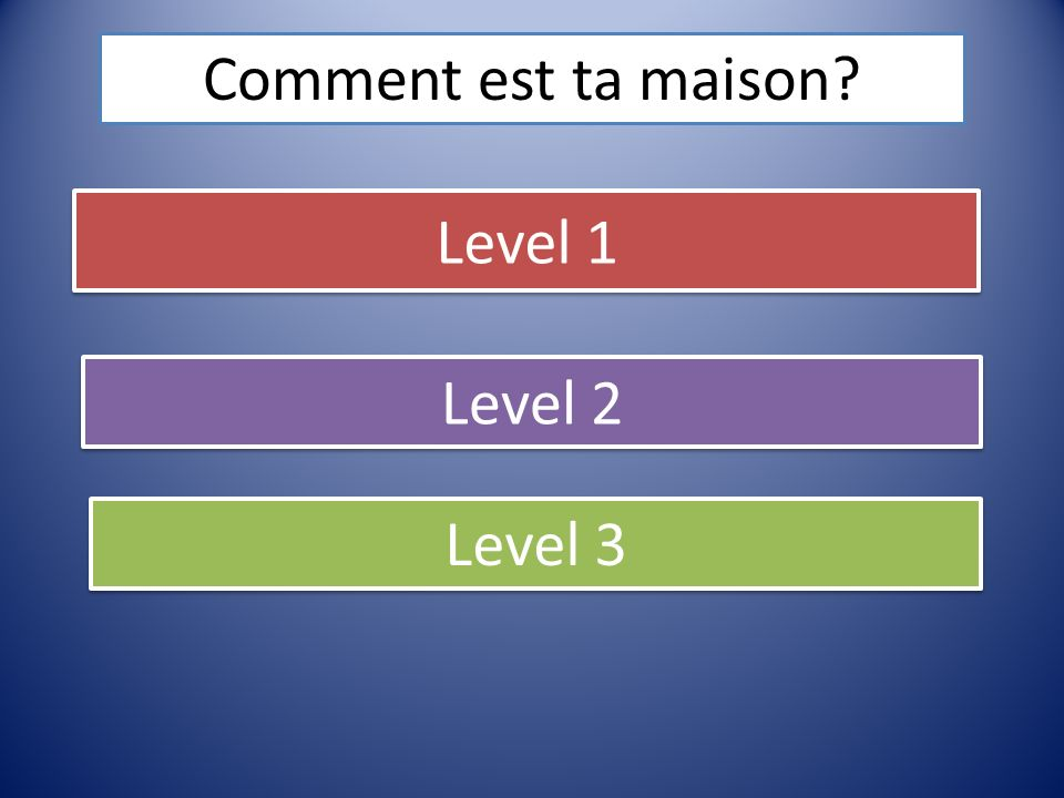 Comment est ta maison Level 1 Level 2 Level 3