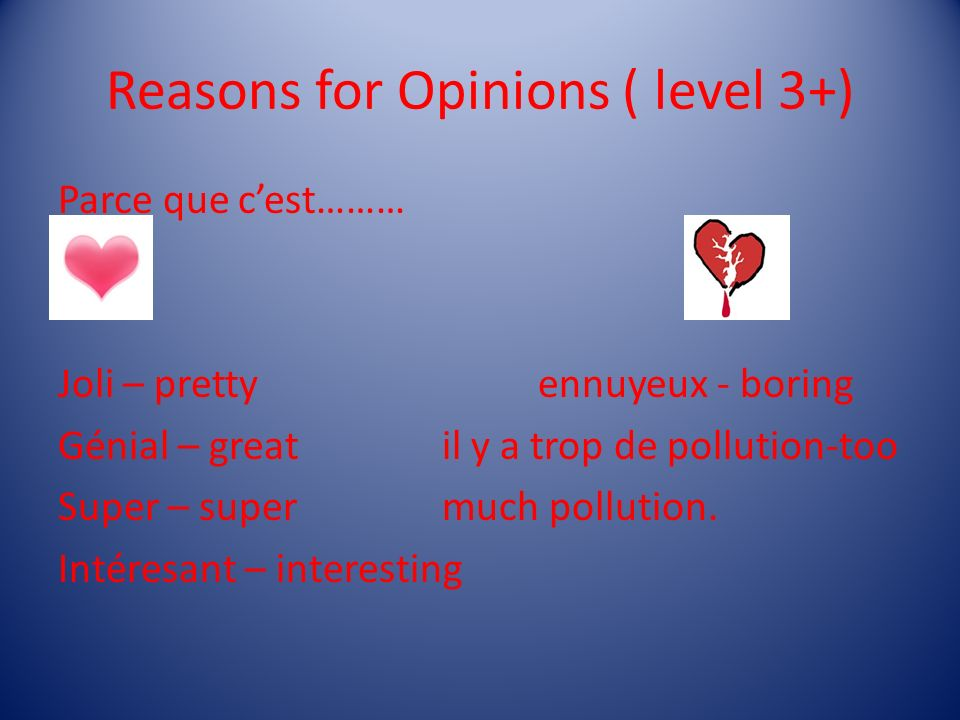 Reasons for Opinions ( level 3+)