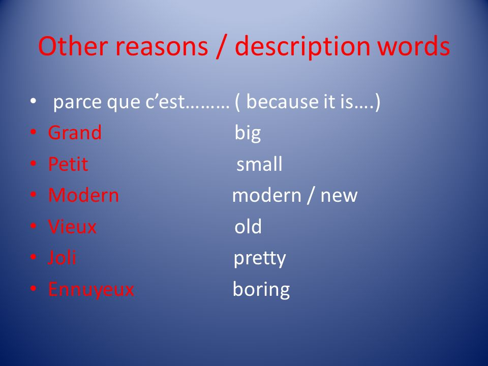 Other reasons / description words