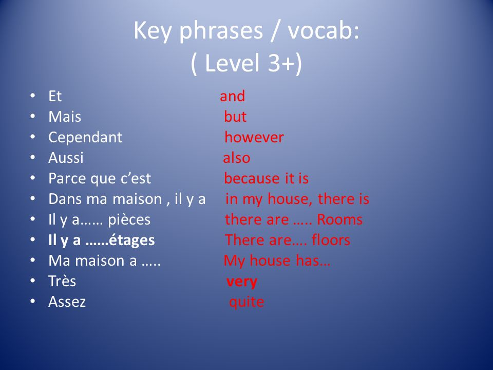 Key phrases / vocab: ( Level 3+)