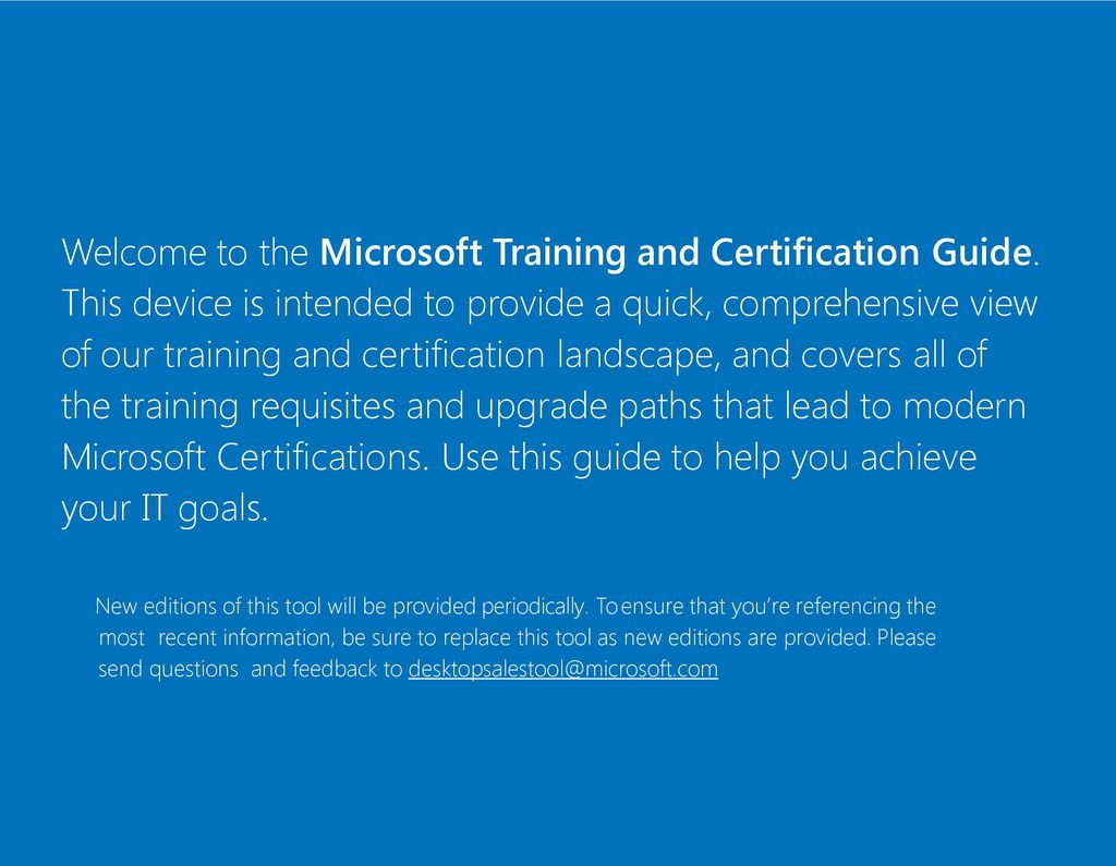 Microsoft training and certification guide ppt download welcome to the microsoft training and certification guide xflitez Gallery
