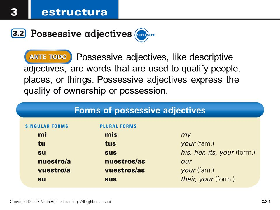 Possessive adjectives, like descriptive adjectives, are words that are used to qualify people, places, or things. Possessive adjectives express the quality of ownership or possession.