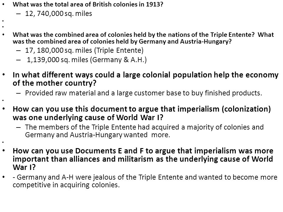 What was the total area of British colonies in 1913