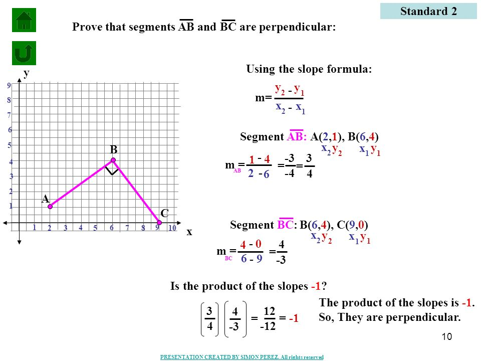 Prove that segments AB and BC are perpendicular: