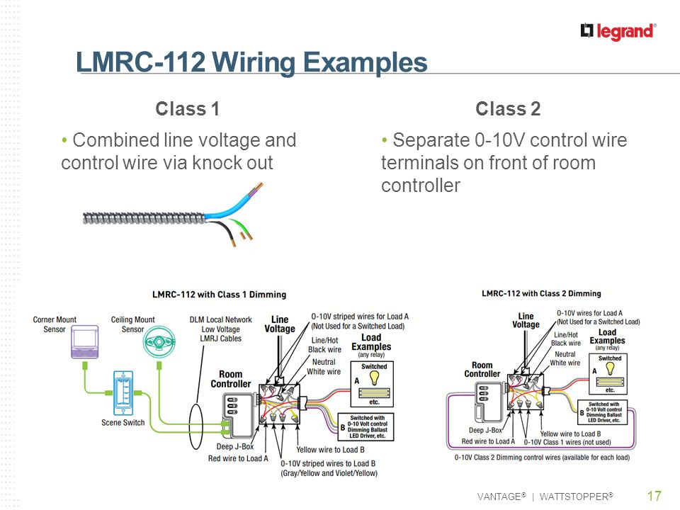 LMRC 112+Wiring+Examples+Class+1 lmrc 110 series room controllers ppt video online download wattstopper wiring diagrams at mifinder.co