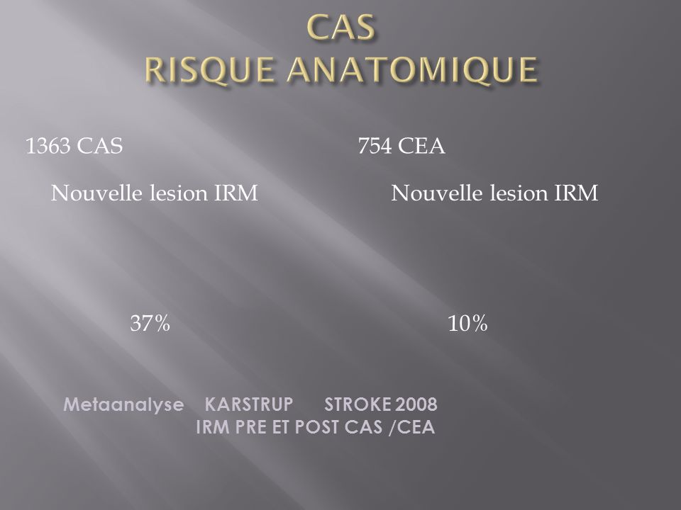 CAS RISQUE ANATOMIQUE 1363 CAS 754 CEA Nouvelle lesion IRM 37%