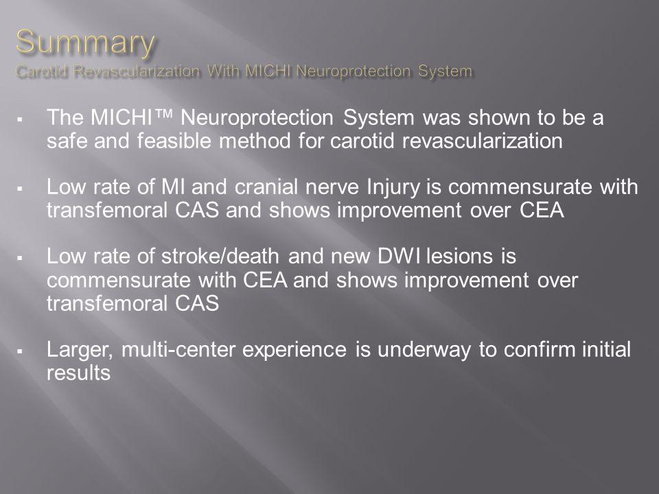 Summary Carotid Revascularization With MICHI Neuroprotection System