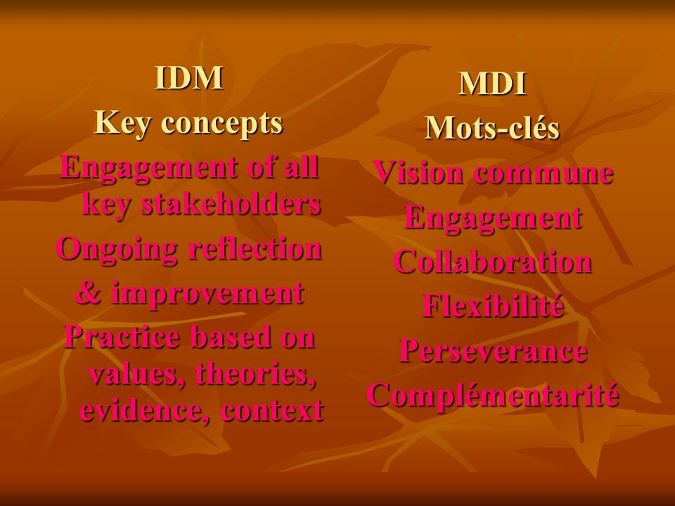 IDM Key concepts Engagement of all key stakeholders Ongoing reflection & improvement Practice based on values, theories, evidence, context