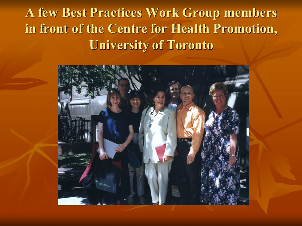 A few Best Practices Work Group members in front of the Centre for Health Promotion, University of Toronto