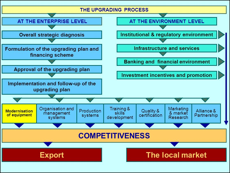 Tools COMPETITIVENESS Export The local market THE UPGRADING PROCESS