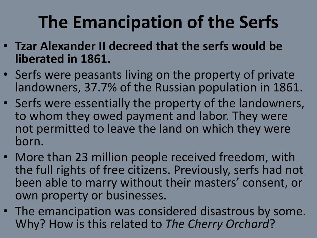 the emancipation of serfs in 1861 Definition of emancipation  definition of emancipation in english:  'the emancipation of the serfs in 1861 left the countryside in deep poverty.