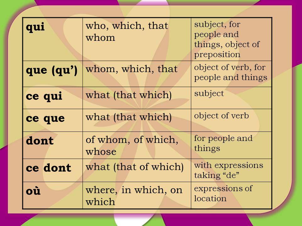 qui que (qu') ce qui ce que dont ce dont où who, which, that whom
