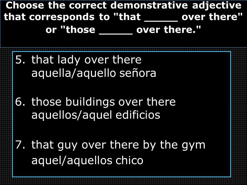 that lady over there aquella/aquello señora