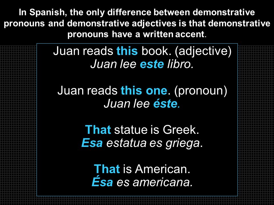 In Spanish, the only difference between demonstrative pronouns and demonstrative adjectives is that demonstrative pronouns have a written accent.