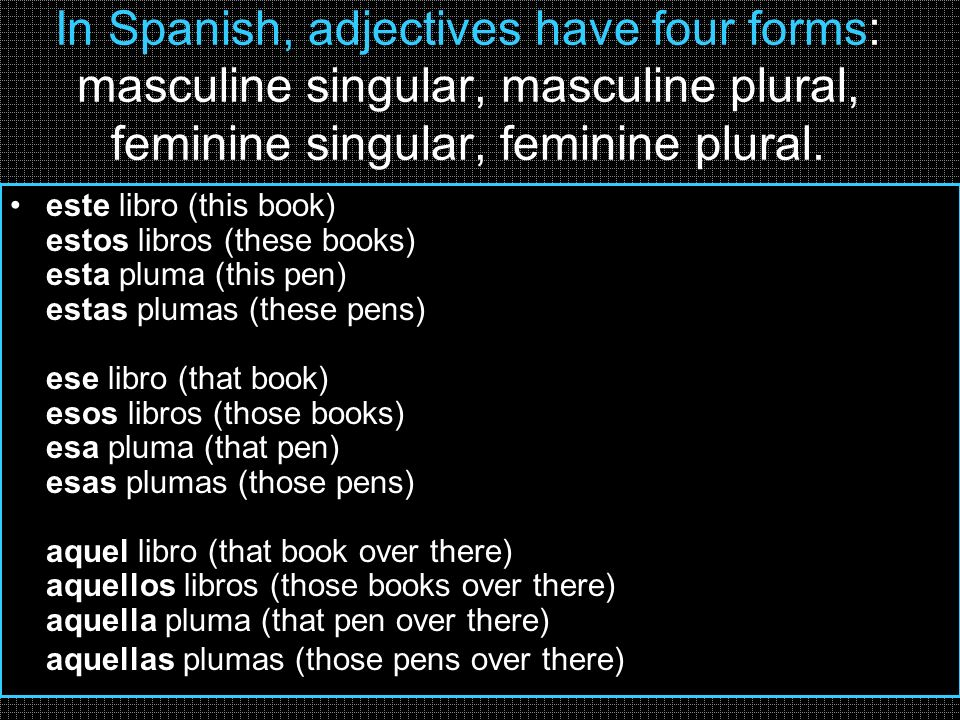 In Spanish, adjectives have four forms: masculine singular, masculine plural, feminine singular, feminine plural.