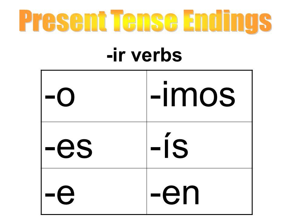 Present Tense Endings -ir verbs -o -imos -es -ís -e -en