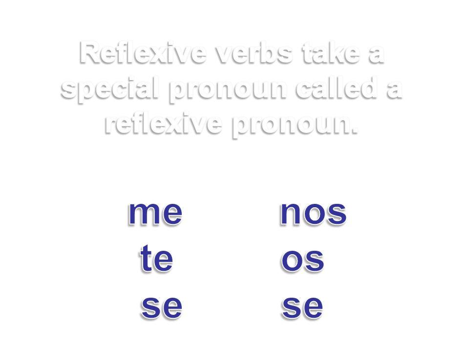 Reflexive verbs take a special pronoun called a reflexive pronoun. me