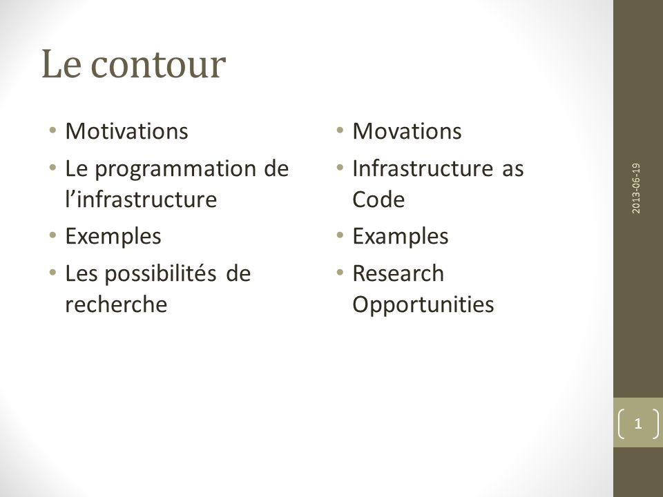Le contour Motivations Le programmation de l'infrastructure Exemples