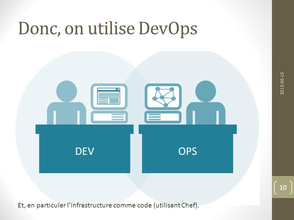 Donc, on utilise DevOps 2013-06-19.