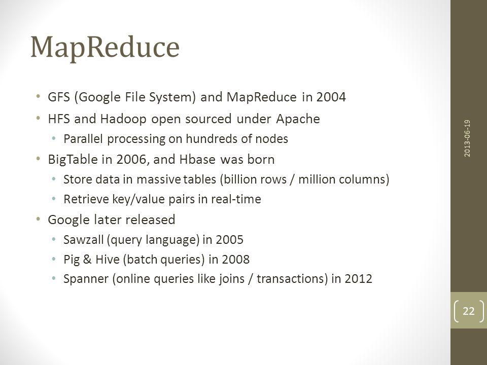 MapReduce GFS (Google File System) and MapReduce in 2004