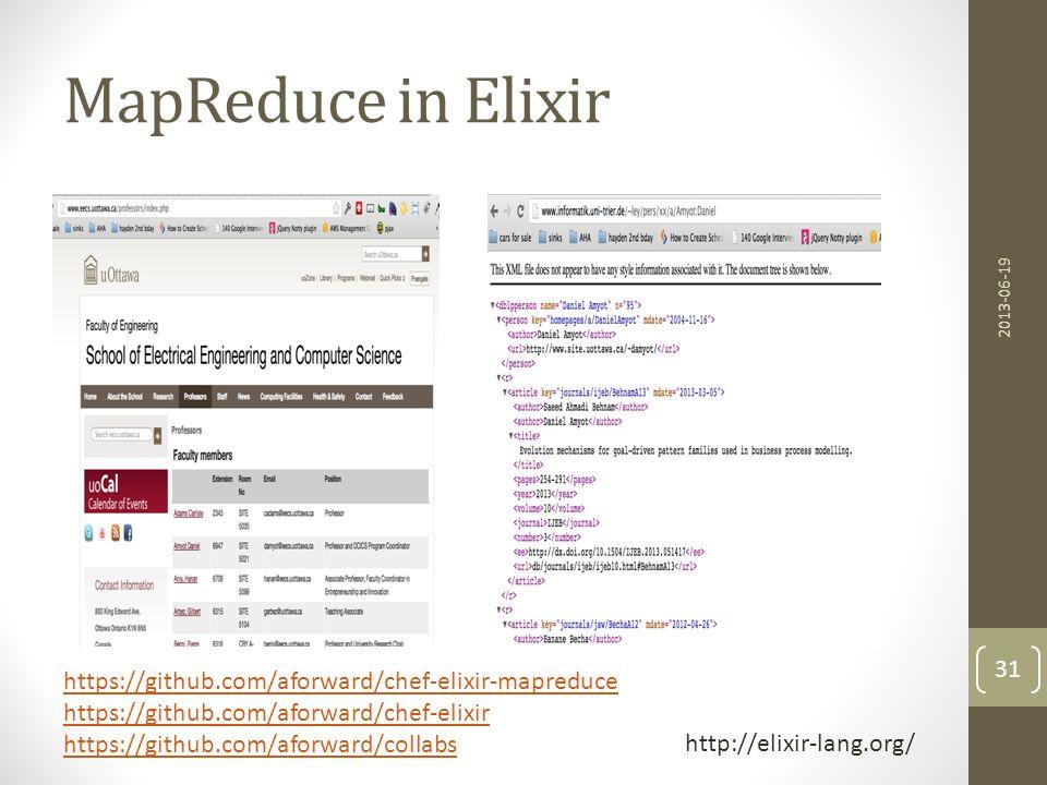 MapReduce in Elixir https://github.com/aforward/chef-elixir-mapreduce
