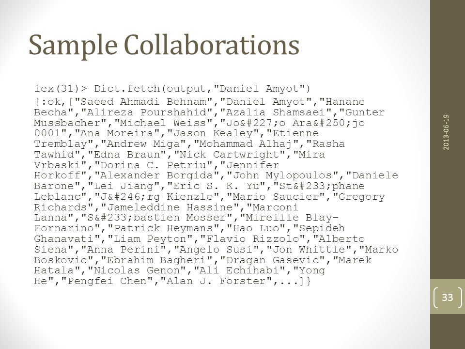 Sample Collaborations