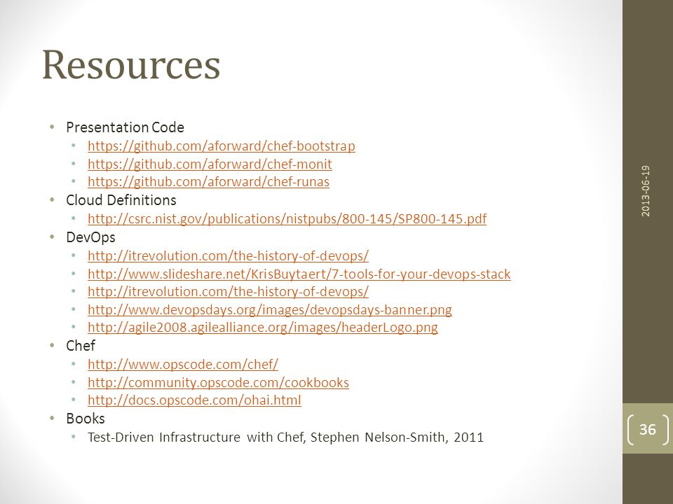 Resources Presentation Code Cloud Definitions DevOps Chef Books