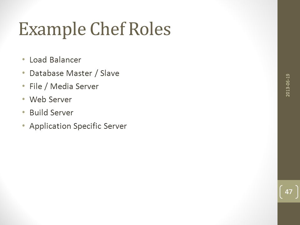 Example Chef Roles Load Balancer Database Master / Slave