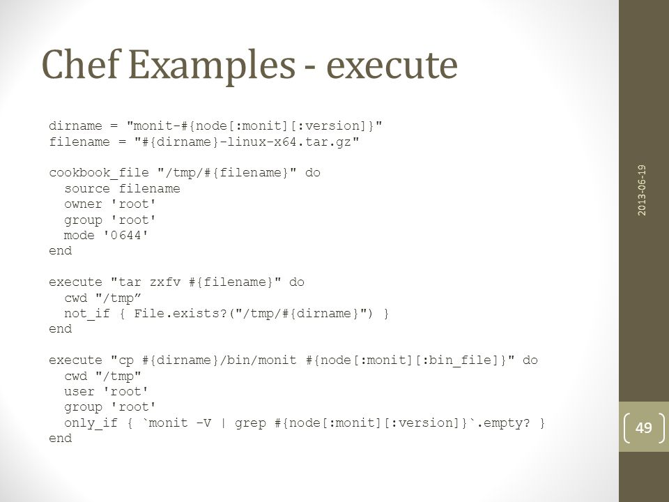 Chef Examples - execute