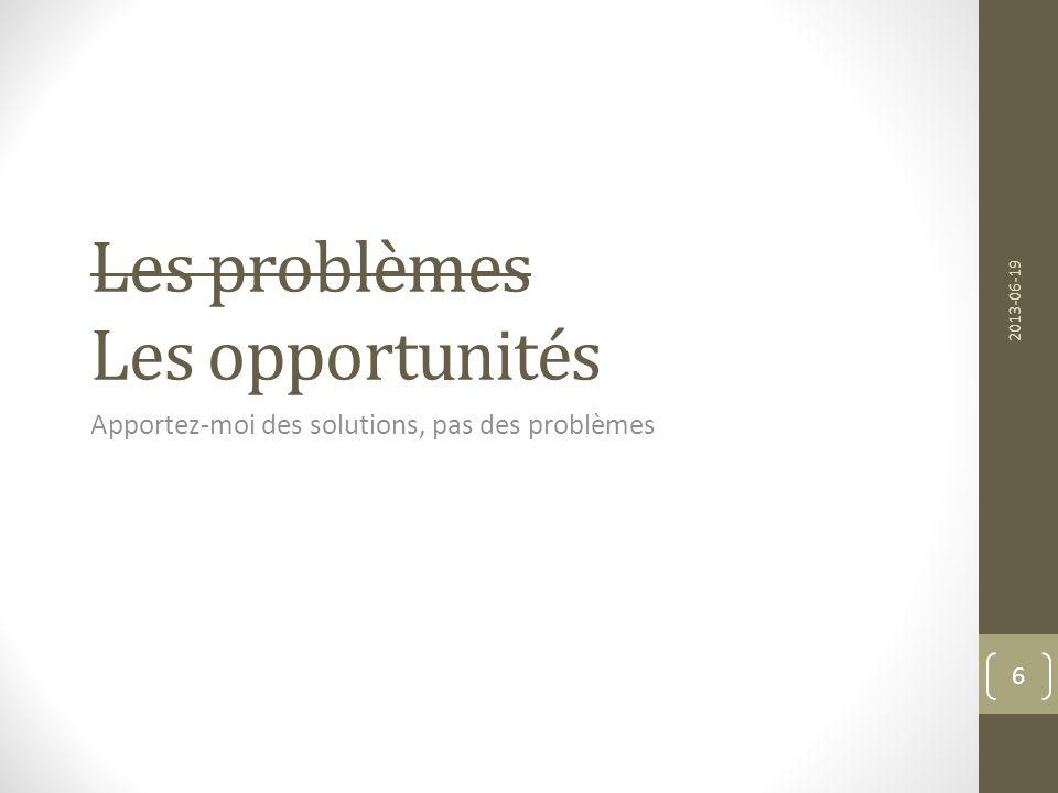 Les problèmes Les opportunités