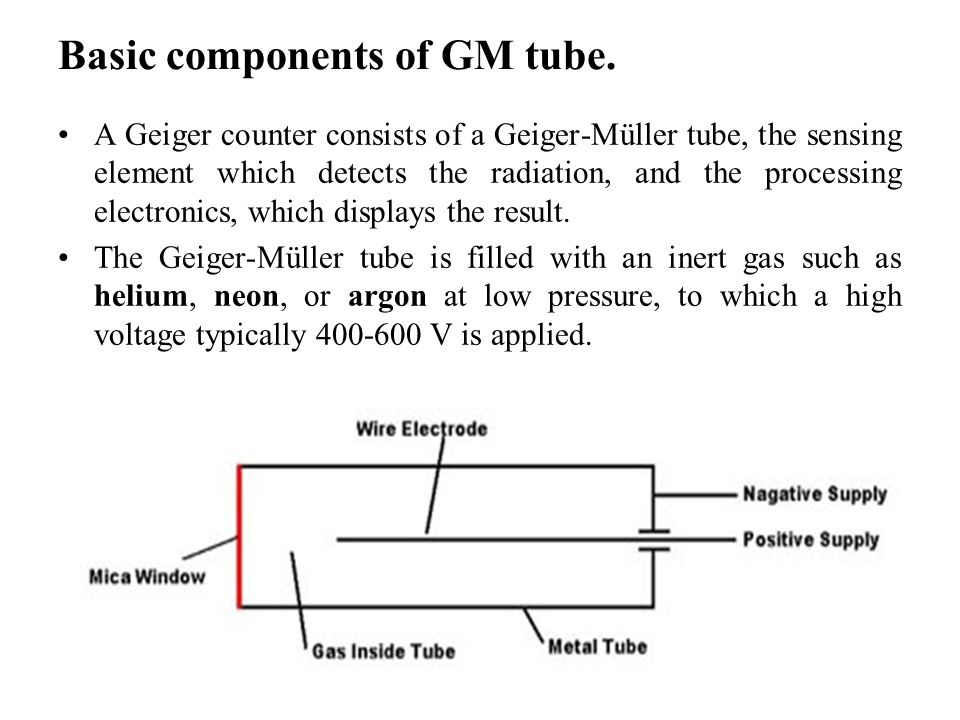 the ionization of the gas atoms in the geiger muller tube The soil and rocks beneath our feet contain all sorts of radioactive elements  which  that the gas remains insulating (the plateau region of the gm tube  charecteristics  a single particle entering the gm tube causes a cascade of  ionisation's.