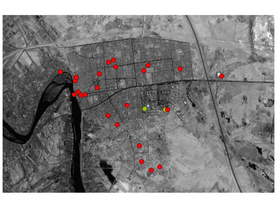 IED/VBIED Factories Total # 24 IED Total # 2 VBIED Red = IED factories Green = VBIED factories