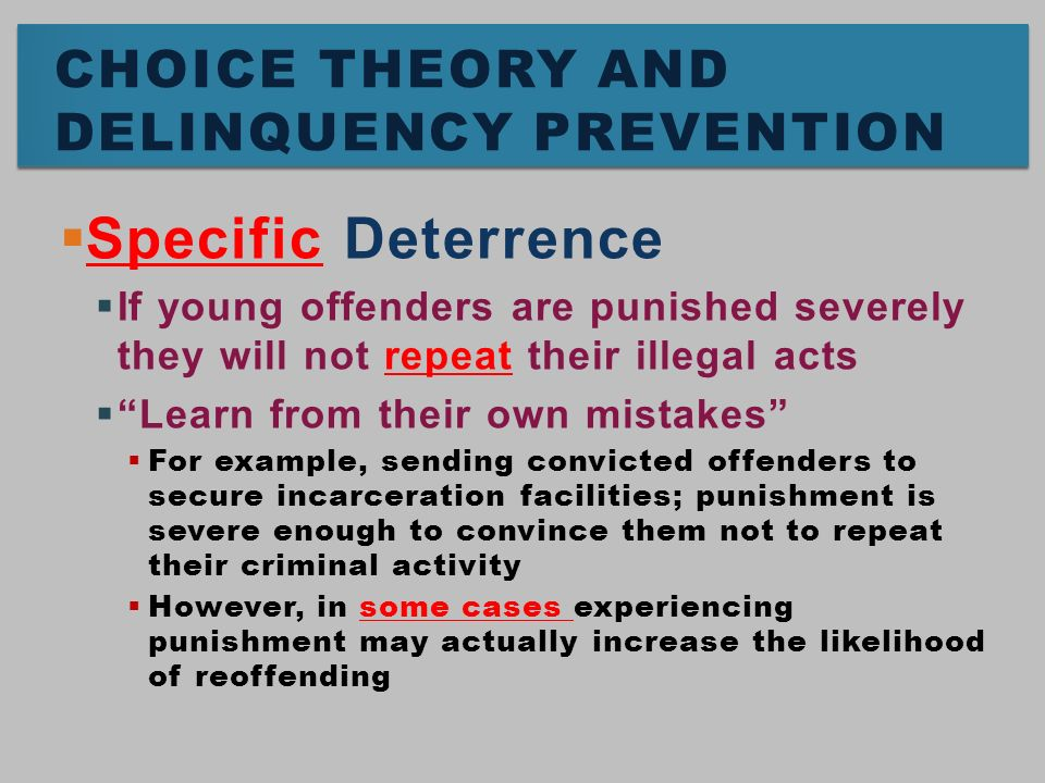 specific deterrence Under-punishment relative to the benchmark of optimal deterrence we confirm  this  deterrence, specific deterrence and incapacitation yet when costs are not.