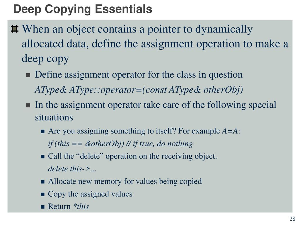 Shallow and deep copying copy constructor assignment operator deep copying essentials malvernweather Image collections