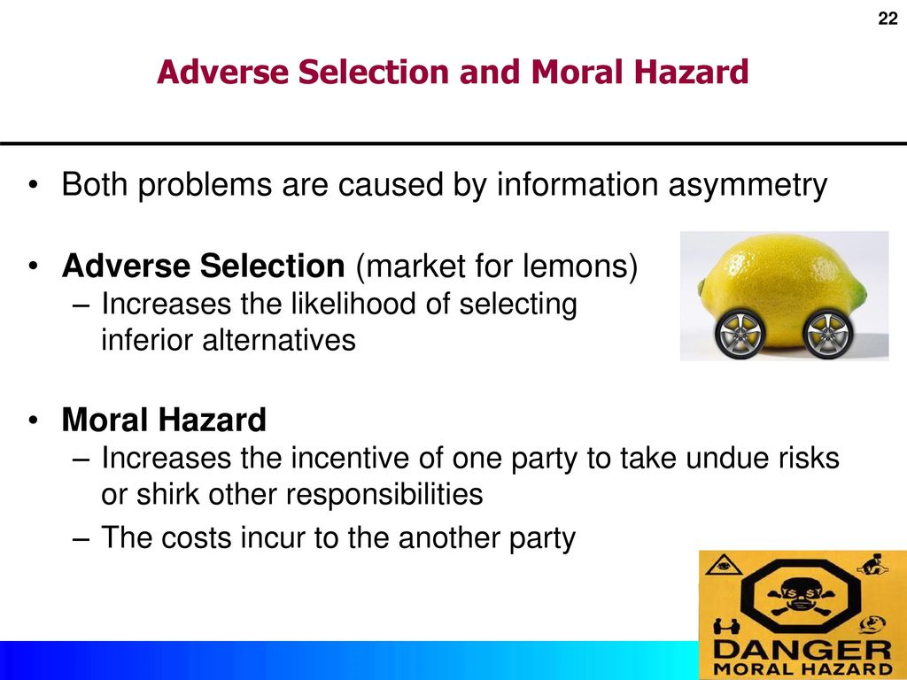 issues of adverse and moral selection Abstract this paper looks at the moral hazard and adverse selection problems confronting an entrepreneur offering securities to an uninformed, but.